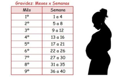 Tabela de meses e semanas da gestação